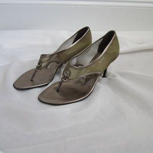 Jil Sander 36 1/2 Gold Metallic Mesh Heels Fall